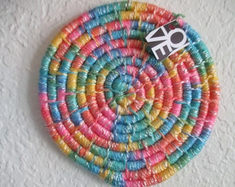 10109 ~ COLORFUL COILED BASKET ~ African Warp Weaving