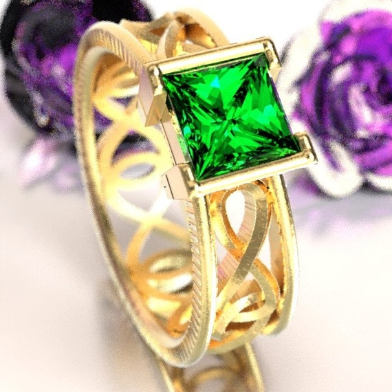 Gold Celtic Emerald Princess Cut Ring With Infinity Symbol Design in 10K 14K 18K or Palladium, Made in Your Size Cr-1028