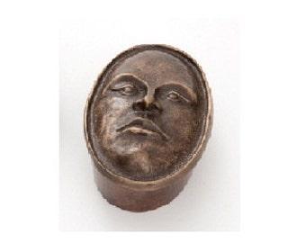 "Female Face Box , Bronze Box 5"" long x 2"" high"