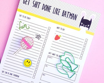 To do list funny notepad A5 | Get shit done like batman| Stationery Notepad | Cute Notepads | To-do List | Christmas stocking stuffer