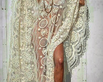Boho Dress, Kaftan, White Dress, Beach Dress, Bohemian dress