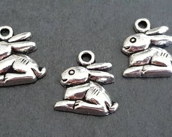 10 rabbit charms silver plated 14 mm, silver rabbit, Bunny jewelry Bunny rabbit charm pendant