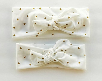 Signature knotted headbands in white with gold triangles for mom and daughter - matching mommy and me headbands - top knot stretchy headwrap
