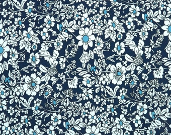 Blue Floral Fabric by the Yard 100% Cotton Fabric Floral Cotton Fabric Quilting Fabric Apparel Fabric Quilt Fabric Yardage Quilt Fabric