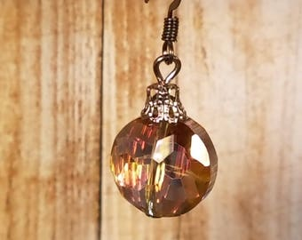 Round Faceted Glass Earrings