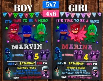 Pj Masks invitation, PJ Masks Birthday Invitation, Pj Masks Birthday Party, Pj Masks Printable, Birthday Pj Mask, Personalized, Printable.
