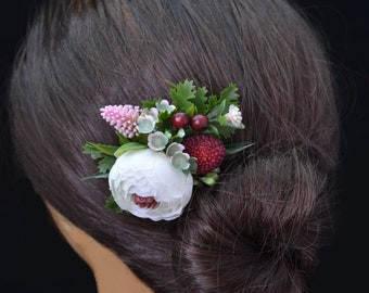 Small hair comb/ Burgundy floral comb/ Bridesmaid comb/ Wedding comb/ Small flower comb/ Girl hair comb/ Ivory hair comb/ Burgundy hair comb
