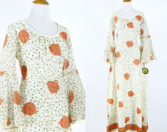 Vintage 1970s Dress | 70s Alfred Shaheen Floral Maxi Dress | Deadstock with Tags | M L