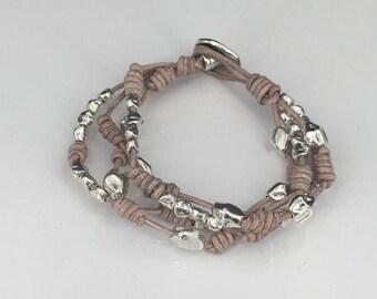 Boho bracelet, leather bracelet, woman bracelet,  bracelet, bohemian bracelet, Zamak Spanish Jewelry