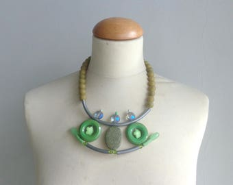 Chaki Green necklace, green statement, green blue  rubber necklace, geometric statement necklace
