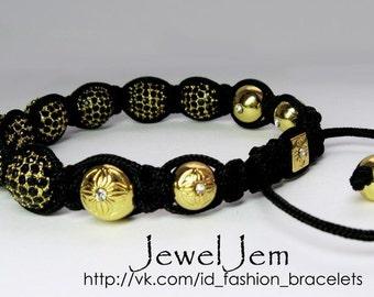 Shamballa Jewels Bracelet Gold metal black rhinestones