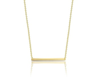 10K Solid Yellow Gold Custom Horizontal Bar Pendant Rolo Chain Necklace Set - Polished Charm