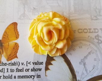 24 Edible Yellow Fondant Roses for Cake and Cupcake Toppers Decorations