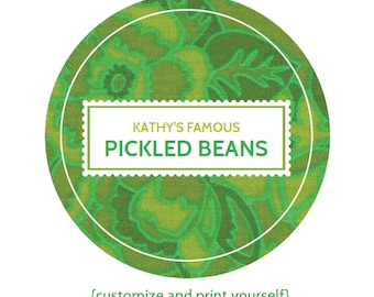 EDITABLE custom printable canning labels in GREEN - YOU customize and print, re-use again and again - Instant Download