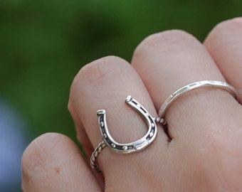 Horseshoe Ring, Sterling Silver Jewelry,  Western Ring, Stacking Ring