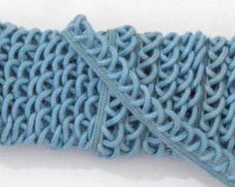 """Vintage Loop Sewing Trim, Grayish Blue Edging Trim,  1"""" wide, 3 Loops Per Inch - 3 yards"""