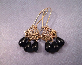 Brass Chandelier Earrings, Black Glass Drop Earrings, Long Dangle Earrings, FREE Shipping U.S.