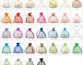 90 Organza Bags, 3 x 4 Inch Sheer Fabric Favor Bags,  For Wedding Favors, Drawstring Jewelry Pouch- CHOOSE Your Color Combo