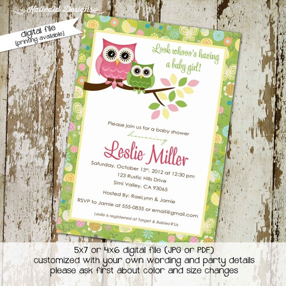 Owl baby shower invitation rustic girl floral birthday sleepover couples coed sprinkle sip see baptism gender reveal neutral | 131 Katiedid