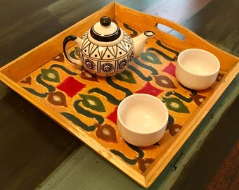 Wooden Breakfast Tray, Bed Tea Tray, Hand painted, Red, Yellow, Housewarming gift, Birthday