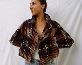 Vintage AUTUMN plaid pea-coat