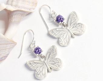 Butterfly Earrings, Silver Earrings, Silver Butterfly, Dangle Earrings, Fine Silver, Drop Earrings, Eco-Friendly Earrings, Fine Jewelry
