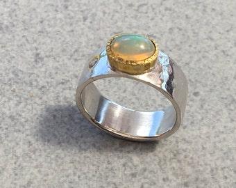 Opal Ring, Silver opal Ring, 925 Sterling opal Ring, Opal Silver  Ring, Ring size 7.75, Oval Ring, Opal jewelry, , October Birthstone Ring,
