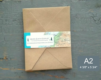 """25 A2 Pointed Flap Kraft Envelopes, 4 3/8"""" x 5 3/4"""" (111 x 146mm), grocery bag kraft brown envelopes, note card envelopes, triangular flap"""