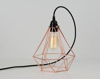 Vintage Industrial Copper Diamond Pendant Wire Cage Desk Side Lamp Light & Edison Filament Bulb | Choose cable colour