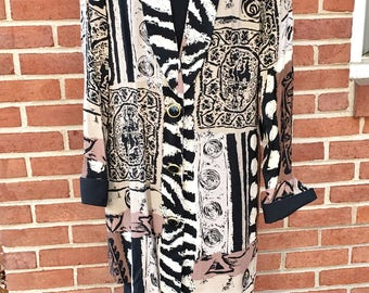 1980's lady Carol of New York Size 16 Little Black Dress w/African Art Design Jacket