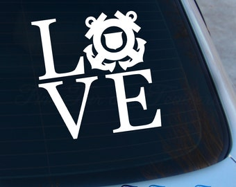 Love Coast Guard Decal - Coast Guard Decal - Coastie Decal - Military Decal - Wife - Vinyl Sticker - Laptop - Macbook - Car Decal