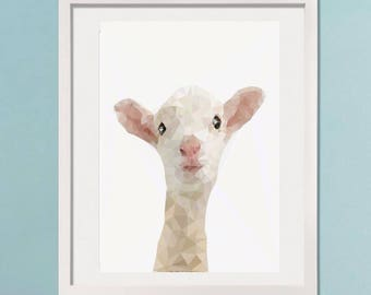 Lamb picture, little lamb print, baby wall art, nursery decor, animal art, geometric lamb print, baby animal pictures, childrens pictures