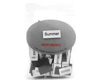 Summer Poetry Magnets - Refrigerator Word Quote Magnets - Free US Shipping