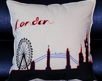 Handmade London Eye & Tower Bridge Cushion Cover
