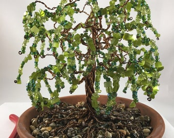Handcrafted Wire, Copper, Tree Sculpture