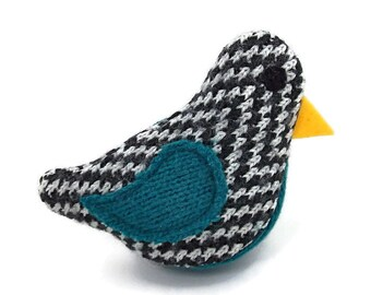 Birds of a Sweater Catnip Cat Toy - Black, White, and Teal