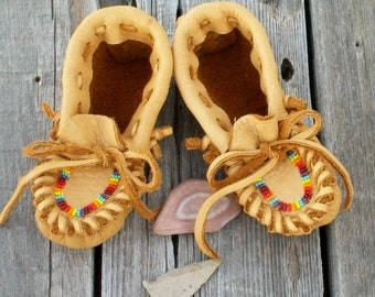 Leather baby moccasins , Toddler moccasins , Soft leather moccasins , thunderrose moccasins