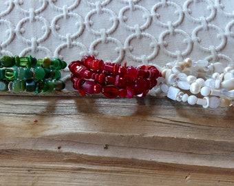 White, Red, or Green Beaded Three Wrap Memory Wire Bracelet