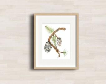SALE * Joyful Pine Watercolor Art Print - Pine tree - Pine branch - Winter Decor - Pine cones -  Farmhouse