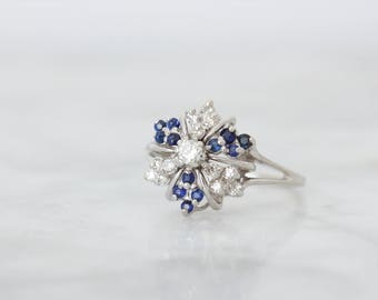 Unique Engagement Ring, Vintage Diamond Cluster Ring, Genuine Blue Sapphire Gemstone Jewelry, 14k White Gold, 1960s Cocktail Ring Size 7.25