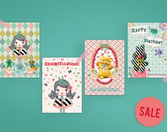 Set of 4 Illustrated Postcards - Hello Girl - Congratulations Girl - Get Well Soon Cat - Happy Birthday Bunny