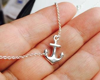 """All Sterling Sideways Anchor Necklace, 16"""" , 17"""",18"""" inch, nautical, sideways, marine, spiritual"""