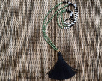 Hand Knotted Chyrsoprase,Onyx and Howlite Mala with Tassel