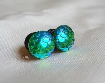Mermaid Scale Plugs, Jewel Tones, for Gauged Ears Sizes 1/2 inch, 00g, 0G, 2G, Earrings