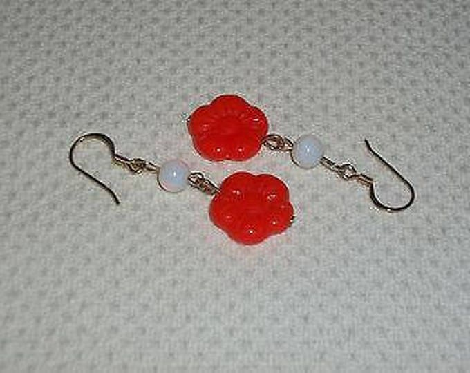 Boho Hippie Chic Orange White Floral Flower Glass Bead Drop Dangle Stainless Steel Handmade Earrings