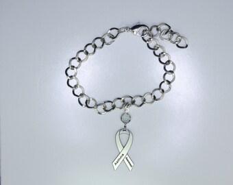 Asthma Awareness Ribbon Bracelet - Asthma Support Jewelry
