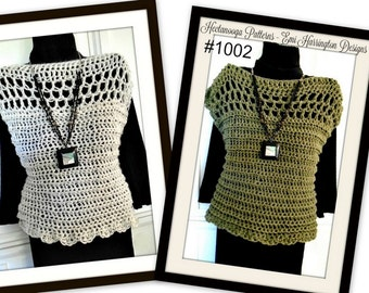 Crochet PATTERN- Women's Summer Shell or Pullover Vest, Teens, Adult, Plus size- # 1002, Crochet for women, clothing for teens, summer top