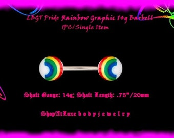 Rainbow Graphic 14g Barbell - Shaft Length .75 Inch/20 mm