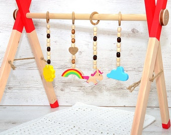 4 natural wooden baby gym toys Unicorn - Ranbow - Sun - Cloud, Montessori wood baby activity center hanging toys, Wooden play gym hangers
