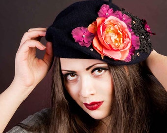 Flower French Beret Hat, Crystal Lace Floral Headpiece